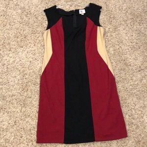 ECI black Red and Tan Paneled Dress